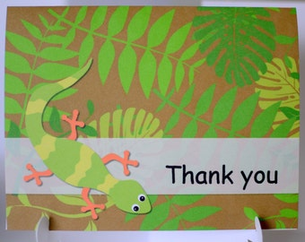 Reptile Birthday Party Thank You Card, Frog, Snake, Iguana, Lizard - 12 cards and envelops