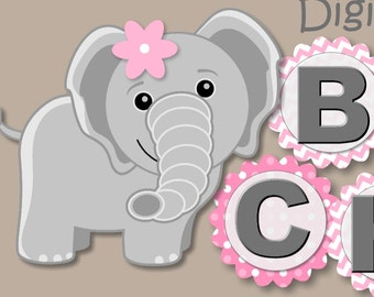 Pink Baby Girl Elephant Baby Shower Banner or First Birthday Party Decorations - BANNER, Sign, Party Package  - Personalized
