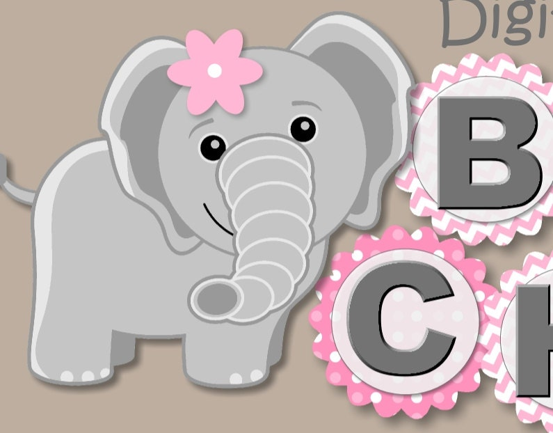 pink baby girl elephant first birthday party or baby shower