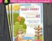 Park Birthday Invitation - FREE Thank You Card included