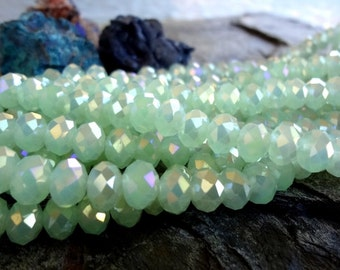 Faceted Crystal Puffy Rhondelle, Opaque Mint Green AB, 8mm, 35 Pieces Per Strand