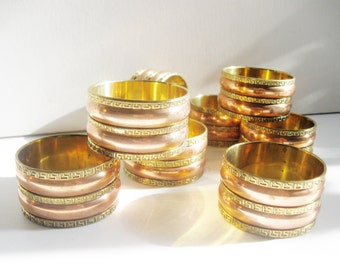 Vintage Greek Key Brass and Copper Napkin Rings, Set of Eight