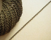 Antiqued Brass Chain, 2x1.5mm Oval Cable Chain 5 ft / 10 ft