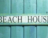 Beach House Sign Wall Art Turquoise Sea Glass Green Layered Paint Sign by CastawaysHall