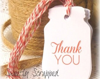 Thank You Mason Jar Tags, DIY Packaging, Red, White, Labels