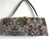 Vintage 1950s Handbags Julius Resnick Burgundy Floral Tapestry Long Purse