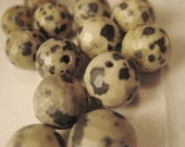 Dalmatian Jasper Beads: Round Faceted Natural Semi-Precious Gemstones, 10mm, 12 pcs.
