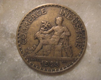 1923 French Coin, Bon Pour 1 Franc, Chamber of Commerce
