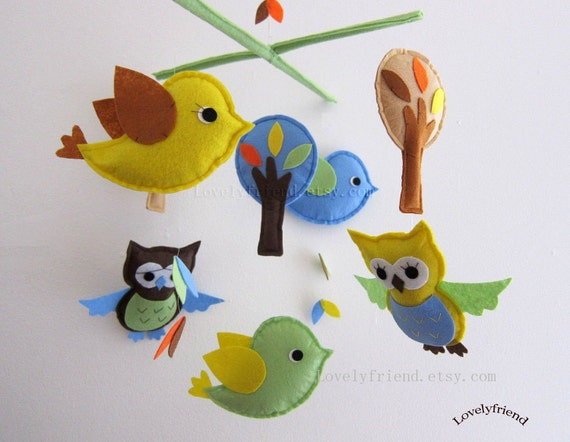 Baby Mobile - Baby Crib Mobile - yellow owl crib mobile - green and yellow bird mobile - blue owl nursery mobile - baby boy mobile