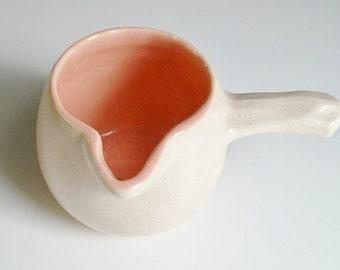 McCoy Pitcher Pot with Stick Handle Creamer Pourer Pink Vintage 1945