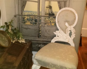 Marie Antoinette French Swan Chair with Carved Wood Feathers, Shells and Lush Shabby Chic Blue Floral Silk and Pearl Trim