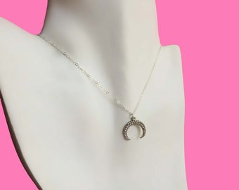 Silver Double Horn Necklace