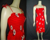 Free Shipping Red Floral Tube Top RUCHED Vintage 1980's Sundress Dress S M
