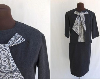Vintage 60s 3 Piece Suit Womens Gray Wool with Sleeveless Blouse Size S / Small Like New