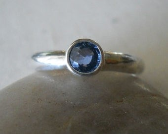 Blue Ceylon Sapphire Engagement Ring - Natural Sapphire Wedding or Solitaire Ring
