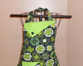 Shamrocks - Women's Apron - Ireland - St Patrick's Day - Pocket - Ruffle - Polka Dots
