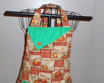 Pumpkin Pie Apron - Thanksgiving - Pie - Autumn - Recipe - Pocket - Ruffle