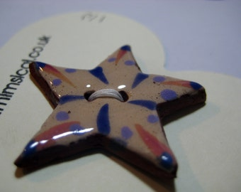 Handmade ceramic buttons -  pink purple star handpainted pottery button C6