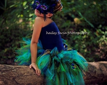 Peacock Feather Bustle Tutu (Tutu Only)...Halloween Peacock Costume, Photography Prop...Girls sizes 5/6 to 14/16