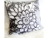 """Floral Pillow - Zen Garden Black and White 16x16 Pillow Cover - Zen Art Flower Pillow - Gift for Women - Original Design """"Black Lace"""""""