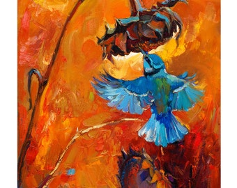 Blue Bird 20in x 16 in, Landscape Painting Original Art Impressionistic OIl on Canvas by Ivailo Nikolov