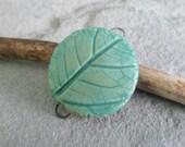 Copper Patina Porcelain Leaf Bracelet Connector Link