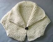 Hand Knit Jacket, Cropped Bolero Jacket, Chunky Wool, Removeable Button, Cream Wool, Soft, Stylish Wrap, Shawl Collar, Handmade, Medium Size