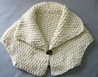 Hand Knit Jacket, Cropped, Bolero Jacket, Chunky Wool, Double Sided Button, Cream Wool, Stylish Wrap, Shawl Collar, Handmade, Medium Size