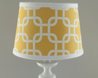 Small Yellow and white Gotcha lamp shade with accent white trim