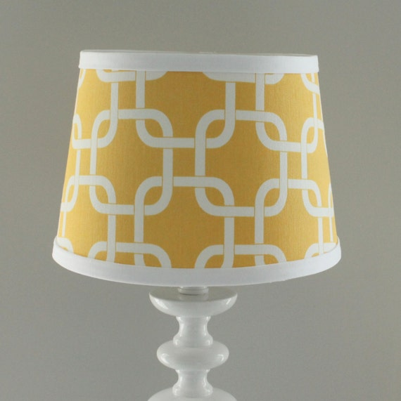 small yellow and white gotcha lamp shade with accent white trim. Black Bedroom Furniture Sets. Home Design Ideas