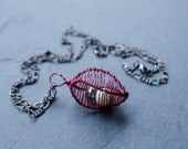Cage Necklace Pendant in Wine Pearl and Transparent