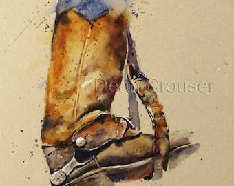 COWBOY BOOTS Watercolor Print by Dean Crouser