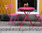 Cafe Print - Copenhagen Photography - Hot Pink and Orange Decor - Denmark Travel Photo Bistro Table Chairs Photograph - Kitchen Art