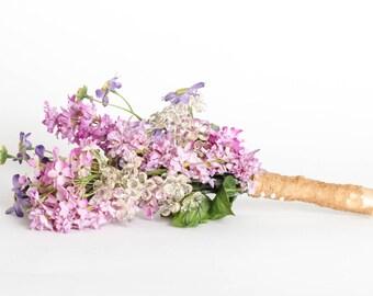 SALE In Stock Purple Wildflower Bouquet Lavender Wild Flowers Champagne Vintage Lace   Handmade   Unique Bridal Bouquet   1000442