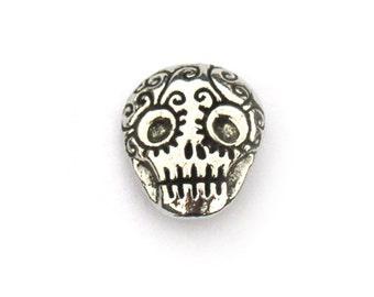 Green Girl Studios Sugar Skull Button Pewter
