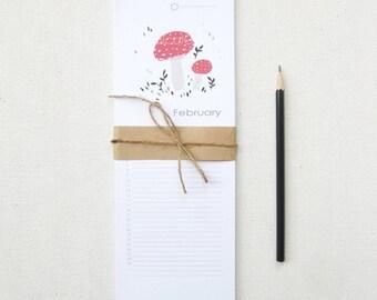 Mushroom Perpetual Calendar, Birthday Calendar - 4.25x11.75 Monthly Calendar