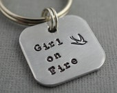 Hunger Games Girl on Fire Hand Stamped Keychain by The Copper Fox