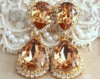 Champagne Chandeliers, Champagne earrings,Bridal Swarovski Stataemtn Drop earnings,Bridal earrings,Topaz chandelier dangle earrings