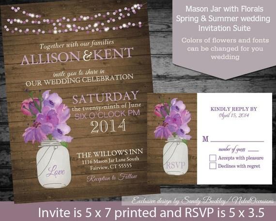 Cottage Mason Jar Wedding Invitation: Mason Jar Spring Wedding Invitation Watercolor Floral