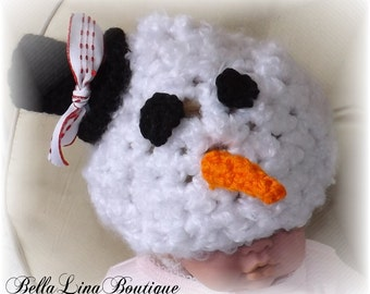 Crocheted Infant Snowman Hat - Photography Prop - Ready to Ship - Do You Want to Build A Snowman?