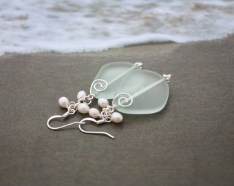 Aqua Sea Glass Earrings Seaglass Earrings Sea Glass Jewelry Wedding Earrings Bridal Earrings Bridesmaid Beach Jewelry Seaglass Jewelry 092