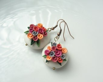 Rose wedding guest earrings in a vintage bead style in orange and pink colours handmade from polymer clay