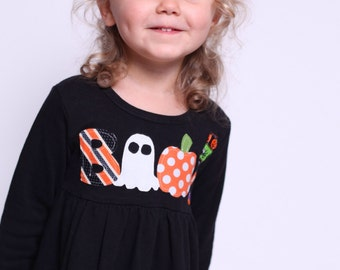 Halloween Dress - Halloween Outfit-Boo!- Choose Dress Color and Sleeve Length