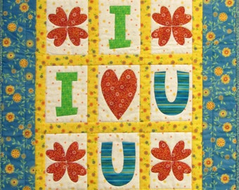 Love Quilted Wall Hanging, 4553-0, Love wall quilt, child's wall quilt, valentine's wall quilt, baby wall quilt