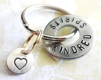 KINDRED SPIRITS Washer Key Ring and Sterling Silver Heart Disc