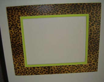 picture mat leopard cheetah jaguar animal print with lime green liner mat 16x20 with custom 105x135 opening