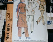 1970 Vintage McCall's Pattern 2629 Misses Top and Pants, Size 12, Bust 34""