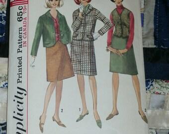 """Vintage 1960s Simplicity Pattern 6124, Misses Suit and Vest, Size 14, Bust 34, Waist 26"""", Hip 36"""", Uncut"""