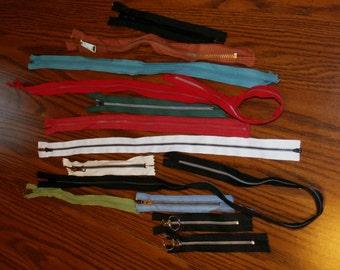 "Lot 13 Vintage Metal and Nylon Unused 6"" to 31"" Zippers in Various Colors"