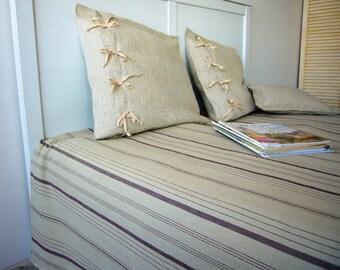Linen throw -Ardea- stonewashed soft linen cloth, striped linen, linen bedspread throw, table linens, easy-care comfy linen, Eco-friendly,